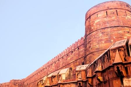 uttar pradesh: Exterior wall of Red Agra Fort  Uttar Pradesh, India