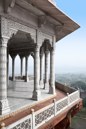 agra: Balcony in Agra Red Fort, India