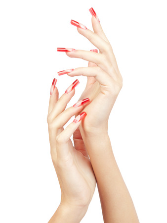 french model: Hands with red french acrylic nails manicure and painting isolated  white