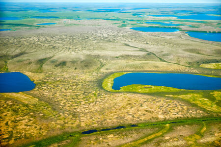 swamped: Aerial view on North Yakutia tundra landscapes from a plane