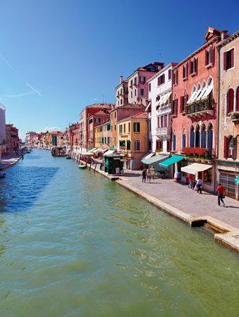 sestiere: VENICE, ITALY - JUNE 26, 2012  View on Canal Cannaregio from Guglie bridge   Ponte delle Guglie   in Venice, Italy
