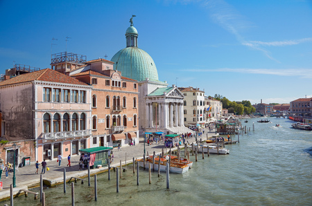 VENICE, ITALY - JUNE 26, 2012  View on Grand Canal from Ponte degli Scalzi   bridge of the barefoot monks   in Venice, Italy