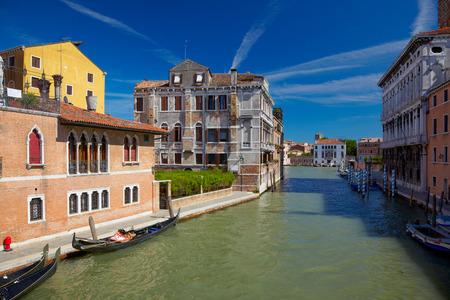 sestiere: View on Canal Cannaregio from Guglie bridge   Ponte delle Guglie   in Venice, Italy
