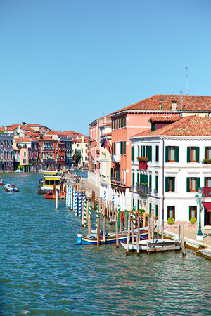 waterbus: View on Grand Canal from Ponte degli Scalzi   bridge of the barefoot monks   in Venice, Italy
