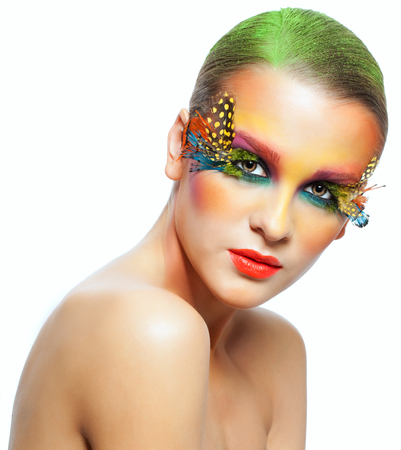 pretty woman face: Young pretty woman face with false feather eyelashes fashion makeup