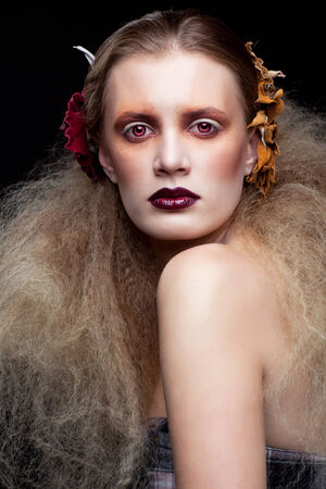 scary girl: Halloween Beauty style woman makeup Stock Photo