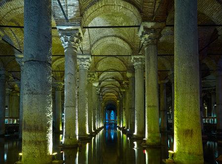 subterranean: Yerebatan Saray - Basilica Cistern in Istanbul, Turkey Editorial