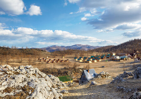 camping site: Wooden bungalows in camping site near Baikal lake