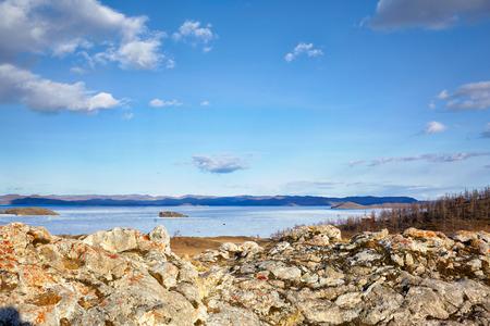 Baikal lake in Siberia at early Spring time photo