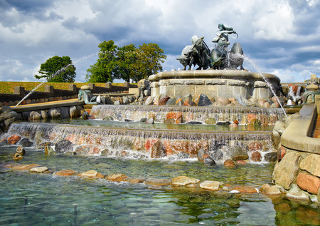 prose: The Gefion Fountain in Copenhagen, Denmark. It is attributed to Prose Edda. According to it, the Swedish king Gylfi promised Gefjun the territory she could plow in a night. She turned her four sons into oxen, and the territory they plowed out of the earth Editorial