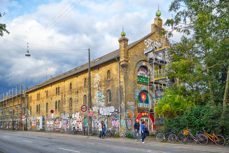 COPENHAGEN, DENMARK - AUGUST 22, 2014: On of the Christiania house on Prinsessegade 37.  Christiania,  also known as Freetown Christiania (Danish: Fristaden Christiania) is a self-proclaimed autonomous neighbourhood of about 850 residents, in Christiansha Editorial