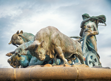 prose: COPENHAGEN, DENMARK - AUGUST 22, 2014:The Gefion Fountain in Copenhagen, Denmark. It was designed by Danish artist Anders Bundgaard 1908. It is attributed to Prose Edda. According to it, the Swedish king Gylfi promised Gefjun the territory she could plow