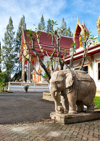 Elephant statue in Wat Sri Sunthon temple on Phuket in Thailand