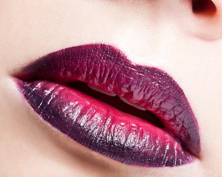 bicolor: Close-up shot of female lips with bicolor marsala lipstick Stock Photo