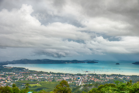 birdseye view: Birds-eye view on bay of Andaman sea from the highest point on Phuket island in Thailand Stock Photo