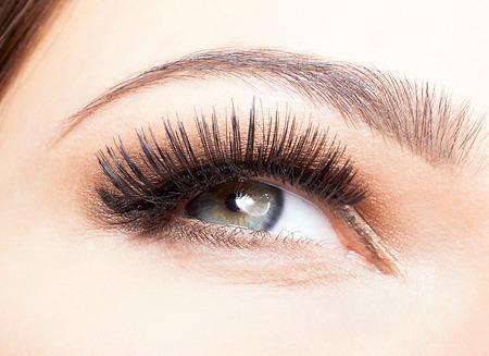 schöne augen: Weibliches Auge mit langen Wimpern Nahaufnahme erschossen Lizenzfreie Bilder