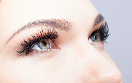 ojos negros: Ojo femenino con las pestañas largas disparó primer plano Foto de archivo