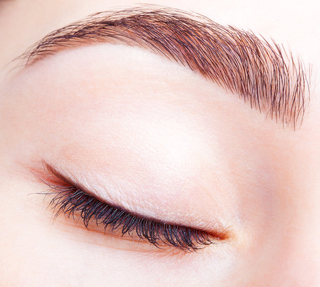 brows: Closeup shot of female closed eye and brows with day makeup