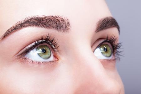 ojos verdes: Primer disparo del color pistacho verde ojo femenino con maquillaje día Foto de archivo