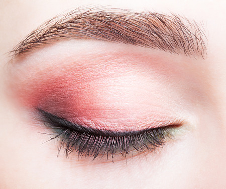Closeup shot of female closed eye and brows with day makeup 免版税图像 - 37028670