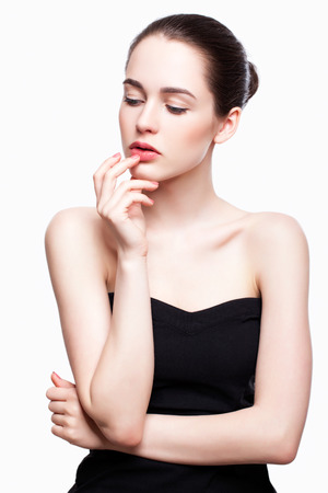 Portrait of young beautiful woman with day makeup Standard-Bild