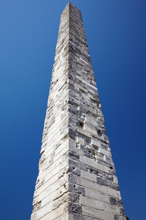 The Walled Obelisk (the Constantine Obelisk) constructed by Constantine VII in the memory of his grandfather Basil I. It is situated on the Hippodrome of Constantinople (now Sultanahmet Square) in Istanbul, Turkey. photo