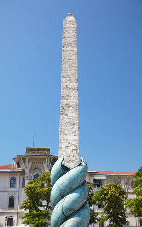 ancient near east: The optic effect when the Serpent Column enfolds the Walled Obelisk on the Hippodrome of Constantinople, now Sultan Ahmet Square, Istanbul