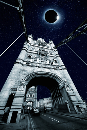 Collage of total Solar Eclipse over Tower Bridge in London photo