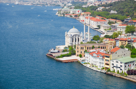 The view of Ortakoy Mosque  and the houses on the Bosphorus shore from the Bosphorus bridge,  Istanbul