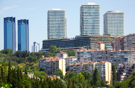 lofty: The view of skyscrapers in Besiktas municipality in Istanbul, Turkey