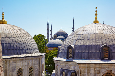 blue mosque: The Domes: The view from the window of Hagia Sophia to the Blue Mosque, Istanbul, Turkey