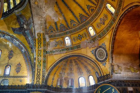 justinian: ISTANBUL, TURKEY - JULY 9, 2014: The interior of Hagia Sophia Dome with the picture of Hexapterygon (six-winged angel) on the north east pendentive, Istanbul