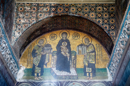 justinian: ISTANBUL, TURKEY - JULY 9, 2014: The mosaics in the interior of Hagia Sophia: Virgin with Child flanked by Justinian I and Constantine I, Istanbul, Turkey