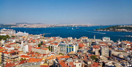 residental: The residental houses and the crossroad of Bosphorus strait and Golden Horn in Istanbul. The view from Galata Tower, Turkey