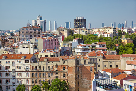 residental: The view from Galata Tower to the residental  houses with the skyscrapers in Galata region of Istanbul, Turkey Stock Photo