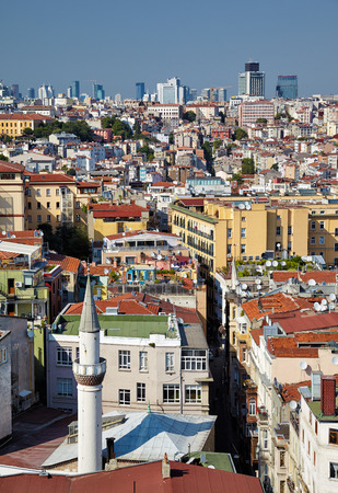 residental: The view from Galata Tower to the residental  houses with the skyscrapers in Galata region of Istanbul, Turkey Editorial