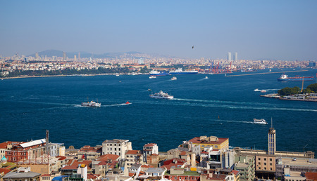 bosphorus: The crossroad of Bosphorus strait and Golden Horn in Istanbul. The view from Galata Tower, Turkey