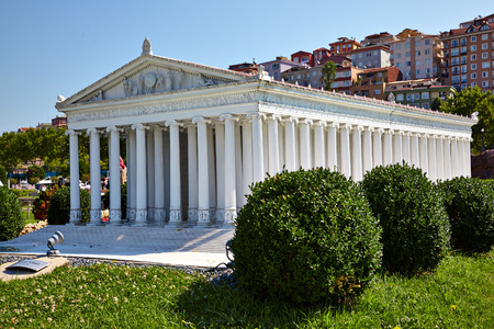 ancient near east: ISTANBUL TURKEY  10 JULY 2014: Miniaturk park in Istanbul Turkey. Scale model reconstruction of Temple of goddess Artemis. It was located in Ephesus. One of the Seven Wonders of the Ancient World.