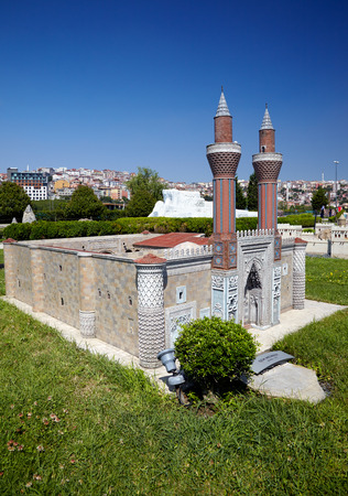 educational institution: ISTANBUL TURKEY  10 JULY 2014: Miniaturk park in Istanbul Turkey. Scale copy of Gokmedrese or Gok Medrese.  It is a 13thcentury medrese an Islamic educational institution in Sivas. Editorial