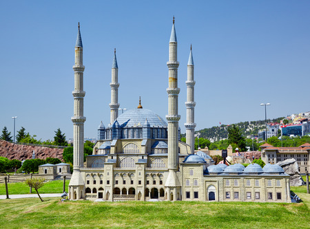 selimiye mosque: ISTANBUL TURKEY  10 JULY 2014: Miniaturk park in Istanbul Turkey.  Scale copy of Selimiye Mosque in Edirne Turkey. Mosque was commissioned by Sultan Selim II and was built between 1569 and 1575.