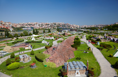footway: ISTANBUL TURKEY  10 JULY 2014: Miniaturk is a miniature park in Istanbul Turkey.  The park contains 122 models done in 1:25 scale.