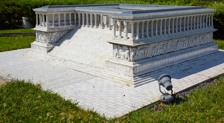 reduced: ISTANBUL TURKEY  10 JULY 2014: Miniaturk  park in Istanbul Turkey. Reduced copy of  Pergamon Altar built during the reign of King Eumenes II  in ancient city of Pergamon in Asia Minor. Editorial