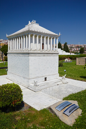 mausoleum: ISTANBUL TURKEY  10 JULY 2014: Miniaturk park in Istanbul Turkey.  Scale model of a reconstruction of Mausoleum at Halicarnassus. It was built between 353 and 350 BC at Halicarnassus. Editorial