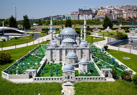 suleyman: ISTANBUL TURKEY  10 JULY 2014: Miniaturk in Istanbul Turkey. Scale copy of Suleymaniye Mosque the Ottoman imperial mosque located on the Third Hill of Istanbul. Built by of Sultan Suleyman in1558 Editorial