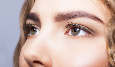 brows: Close-up shot of female eyes makeup