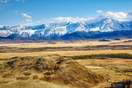 Altai mountains in Kurai area with North Chuisky Ridge on background.