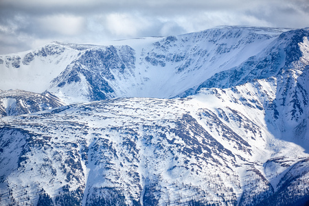 north ridge: North Chuisky Ridge covered by snow in Altai mountains