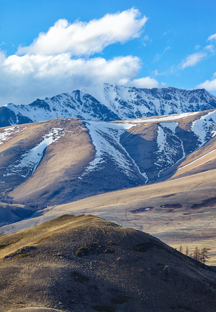 north ridge: Altai mountains in Kurai area with North Chuisky Ridge on background.