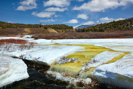 ulagan: River Chibitka in Ulagan region over ice field at Spring time, Altai, Siberia, Russia