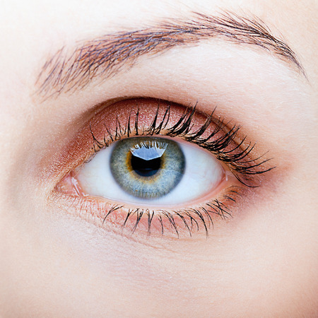 Close-up shot of female face with eye makeup Archivio Fotografico